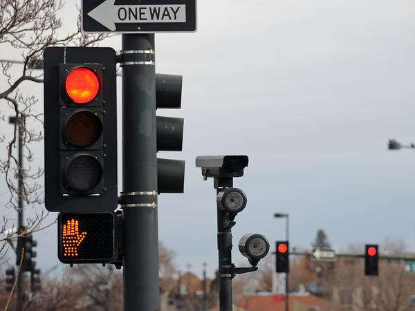 This red light camera is at the intersection of 6th Avenue, Speer Boulevard and Lincoln Street in Denver. A new study finds that deaths caused by motorists running red lights have risen to a 10-year-high.