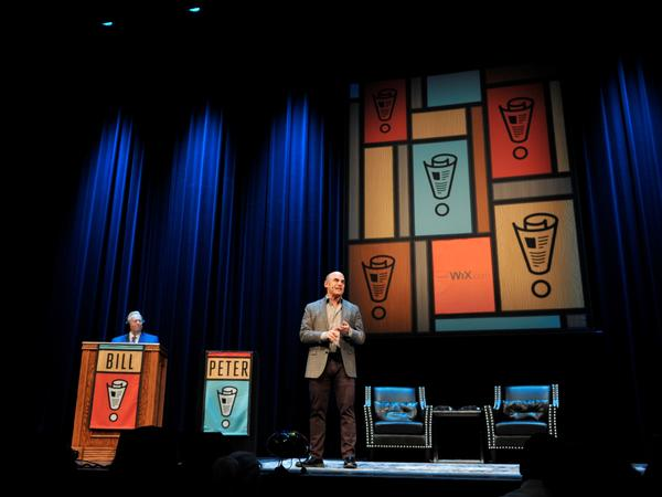 Peter Sagal and Bill Kurtis at the Chicago Theatre.