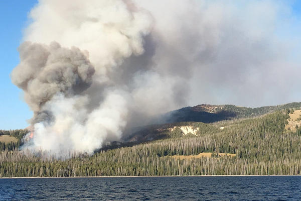 Brimstone Fire from Yellowstone Lake August 28, 2019