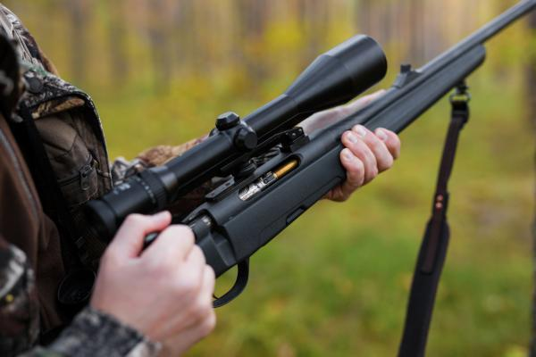 Hunter with a rifle.