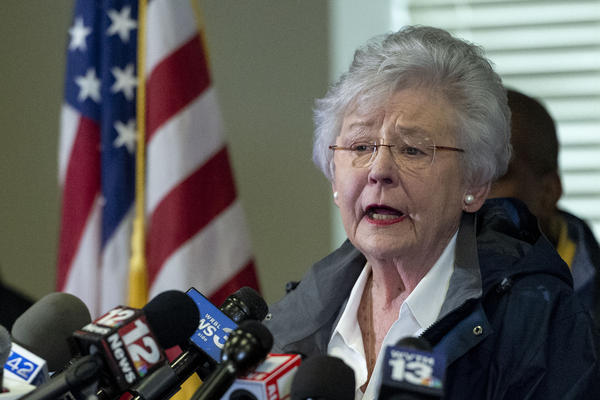 On Thursday, Alabama Republican Gov. Kay Ivey (shown in March) apologized after a radio interview described her wearing blackface during a college skit in the 1960s.