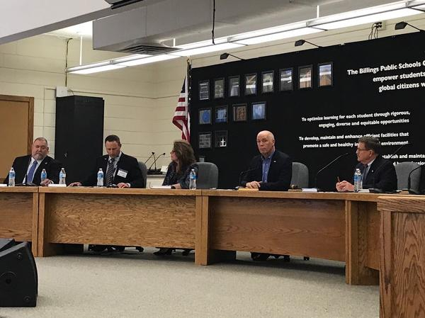 Montana Public Service Commissioner Tony O'Donnell (far right) convened a panel to discuss cyber security for public schools in Billings August 28.