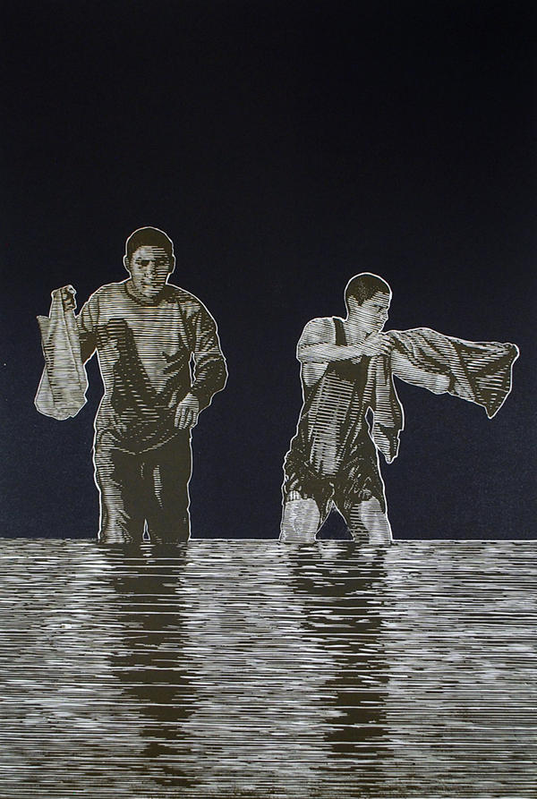 """""""Santos + TIno Collecting Shells"""" is a painting of Fifield Perez's brothers. The piece will be included at the Craft Alliance exhibit."""