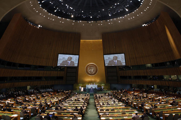 President Robert Mugabe of Zimbabwe addresses the 66th session of the United Nations General Assembly at U.N. headquarters in 2011.