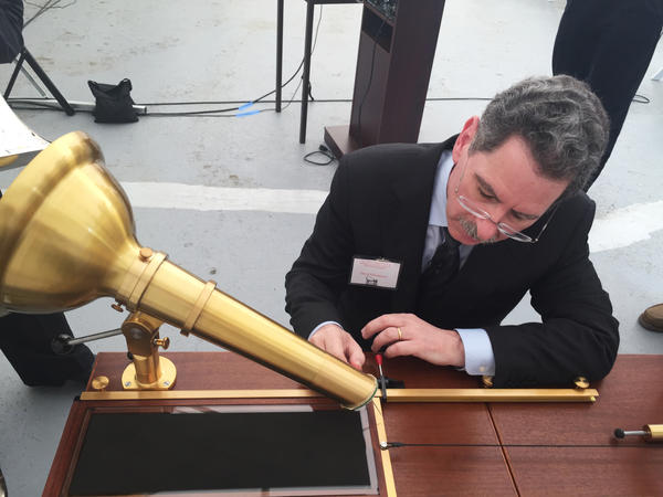 David Giovannoni uses a reproduction of Scott's phonautograph. Giovannoni is part of the team that recovered the audio from Scott's recordings.