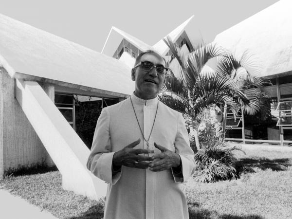 Archbishop Óscar Romero stands outside the chapel of the Hospital de la Divina Providencia in San Salvador on Nov. 20, 1979.