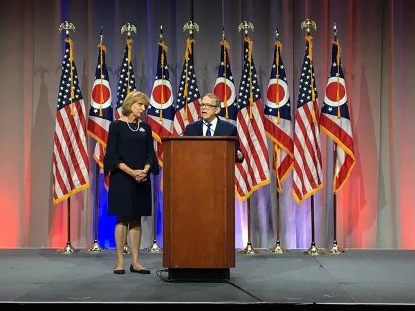 Candidate for governor Mike DeWine, joined by his wife Fran, speaks at the Ohio Republican Party's annual state dinner.
