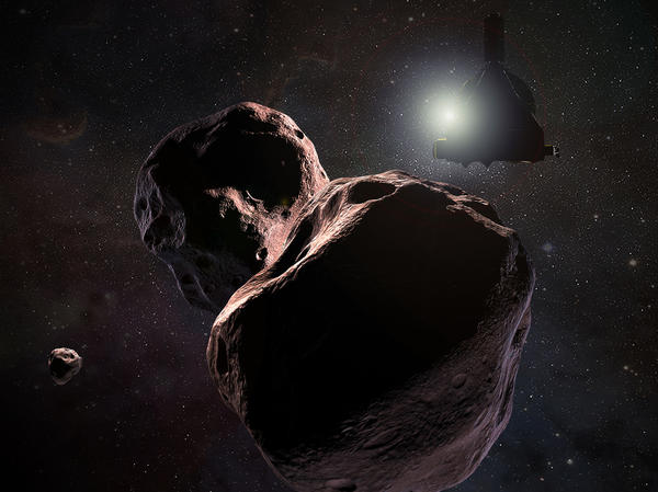 An artist's impression of NASA's New Horizons spacecraft encountering Ultima Thule, a Kuiper Belt object that orbits 1 billion miles (1.6 billion kilometers) beyond Pluto, on Jan. 1, 2019.