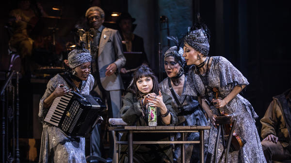 Eva Noblezada, who plays Eurydice, and the Broadway cast of <em>Hadestown. </em>