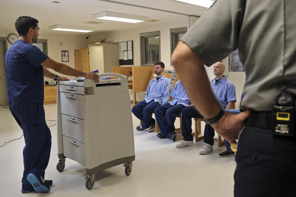 In Massachusetts last July, several Franklin County Jail inmates were watched by a nurse and a corrections officer after receiving their daily doses of buprenorphine, a drug that helps control opioid cravings. By some estimates, at least half to two-thirds of today's U.S. jail population has a substance use or dependence problem.