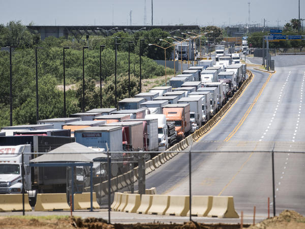 Traffic backs up along the route to the border crossing from Mexico to the U.S. in Laredo, Texas in 2015. Mexico recently surpassed China and Canada as America's top trading partner, which helped catapult Laredo past Los Angeles to become the number one port in the country.