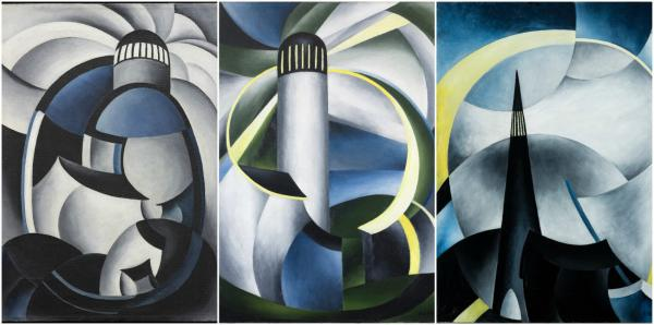 Ida O'Keeffe's variations on a lighthouse she saw on Cape Cod. (Courtesy of the Collection of Jeri Wolfson)
