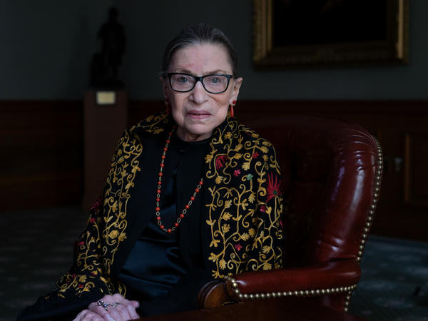 Justice Ruth Bader Ginsburg sits for a portrait in the Lawyer's Lounge at the Supreme Court of the United States.
