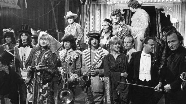 The Rollings Stones, Marianne Faithfull and other performers at the Rock and Roll Circus.