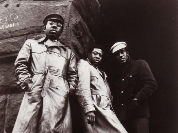 The Impressions circa 1970. Left to right: Curtis Mayfield, Fred Cash and Sam Gooden.