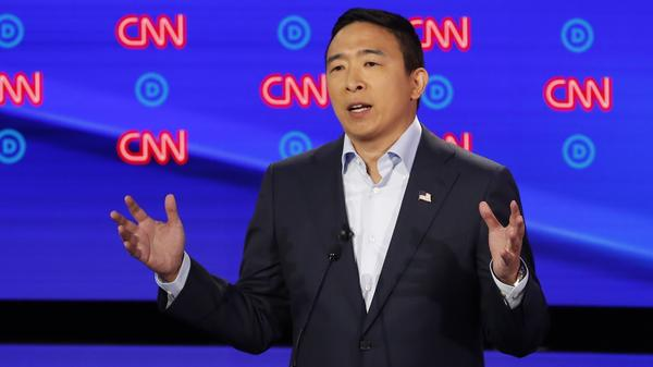 Andrew Yang participates in the second of two Democratic presidential primary debates hosted by CNN last month in Detroit.