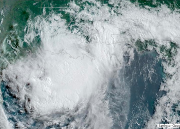 Hurricane Barry as seen by satellite on Saturday, July 13th, 2019.
