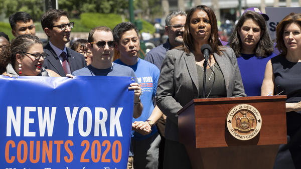 New York State Attorney General Letitia James speaks at a June news conference in New York City. James' office is now leading a coalition of states and other groups in defending the Census Bureau's long-standing policy of including unauthorized immigrants in population counts used for reapportioning seats in Congress.