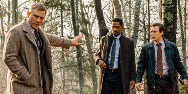 L to R: Detective Blanc (Daniel Craig), Lieutenant Elliott (LaKieth Stanfield) and Trooper Wagner (Noah Segan) are on the case in Rian Johnson's <em>Knives Out.</em>