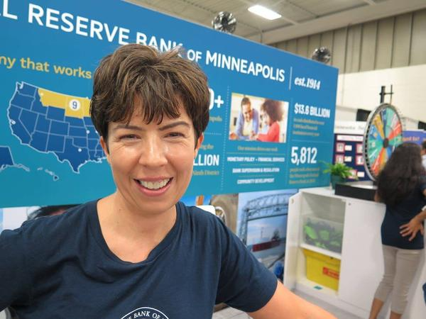 Karmi Mattson, the Minneapolis Federal Reserve Bank's manager of public programs, says she and her colleagues are at the state fair to teach Minnesotans about what the Fed does.