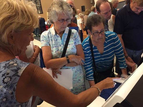 Attendees in Bucks County, Pa. test-drove new voting machines at an event aimed at helping the county decide which equipment to buy. Security is a major focus in the 2020 presidential race.