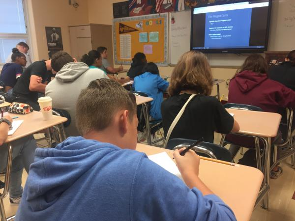 Licking Heights High School freshmen take notes in Mrs. Obhof's World History class.