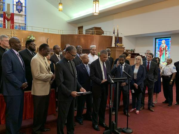 St. Louis faith leaders, elected officials and community leaders gathered at Lane Tabernacle CME Church to address the city's gun violence.