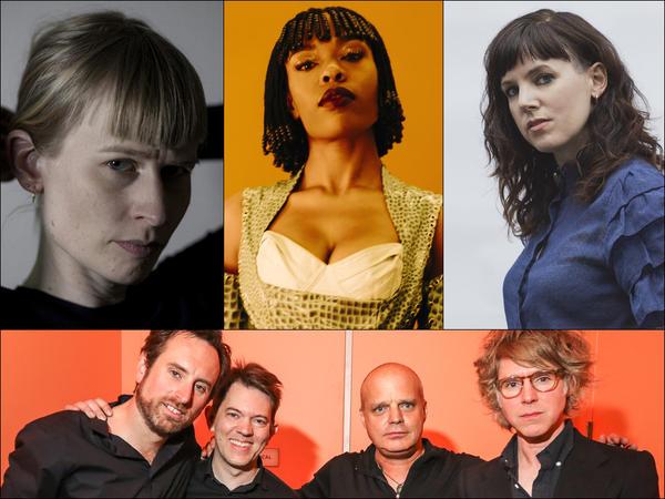 Clockwise from upper left: Jenny Hval, Sudan Archives, Anna Meredith, Mellotron Variations (Robby Grant, Jonathan Kirkscey, John Medeski, Pat Sansone)
