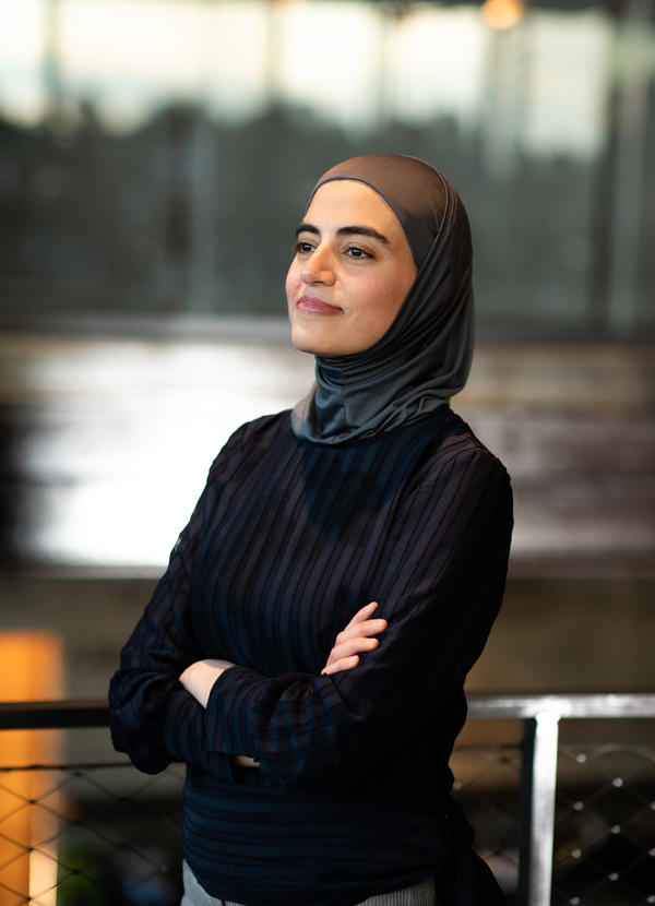 Kholoud Sawaf, creator and director of <em>10,000 Balconies</em>, stands at TheatreSquared in Fayetteville, Ark., on Friday.