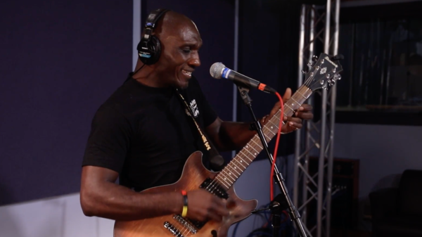 Cedric Burnside inside the World Cafe Performance Studio