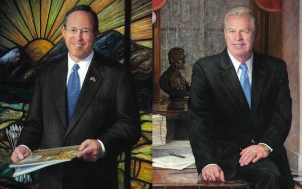 Portraits of Gov. Bob Taft (R, left) and Gov. Ted Strickland (D) by artist Leslie Adams.
