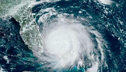 Satellite image of Hurricane Dorian sitting atop the Bahamas on Monday.