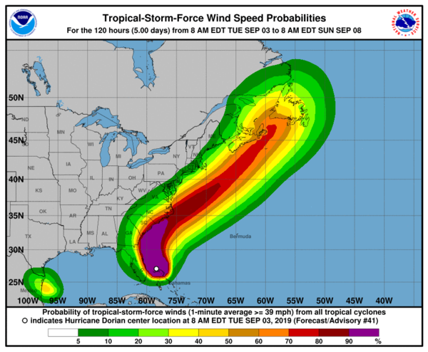 Tuesday's forecast shows wind speed probabilities for Hurricane Dorian along the East Coast.