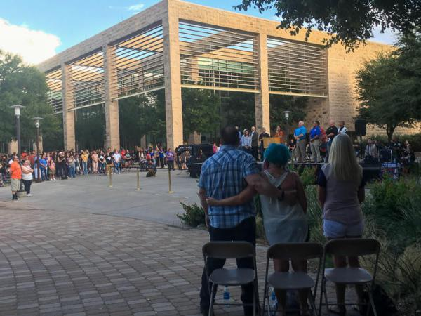 Community members from across the Bermian Basin gathered Sunday to pray and remember the seven people killed Saturday.
