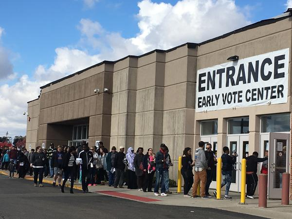 Voters outside Franklin County Voting Center
