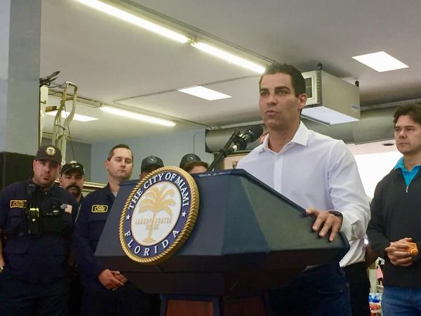 Miami Mayor Francis Suarez at a press conference Tuesday, September 3, 2019. He was joined by the USAR Miami team (left) and Miami City Commissioner Ken Russell (right).
