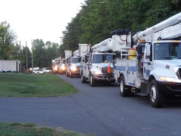 Duke Energy workers prepare to head to Florence, South Carolina, ahead of Hurricane Dorian. ahead