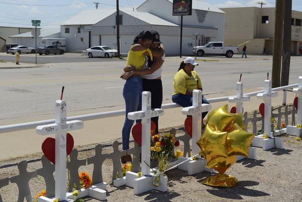 A memorial for the victims of the mass shooting in West Texas.