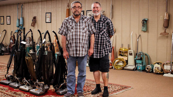 """Donnie Pedrola, 48, (left) and Tom Gasko, 57, at their Rolla, Mo., vacuum repair shop and museum, in June. """"Most people aren't that passionate about something,"""" Pedrola says of Gasko's lifelong and prolific love for vacuum cleaners."""
