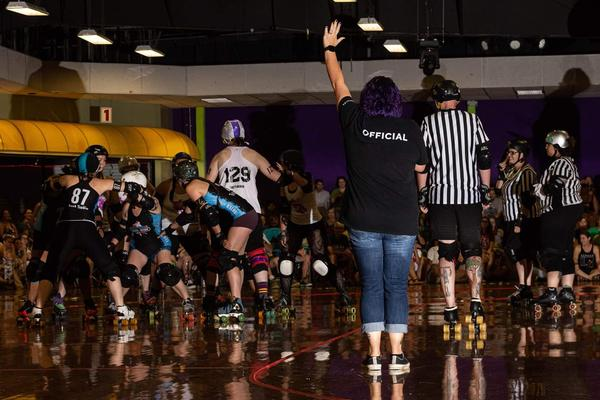 A photo from a Greensboro Roller Derby Game.