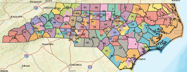 North Carolina's current state House district map.