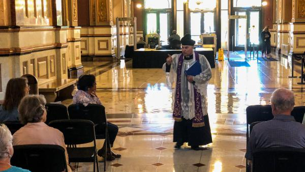 The Rev. Edward Ohm speaks to an anti-abortion gathering Wednesday in the rotunda of the Illinois Statehouse.