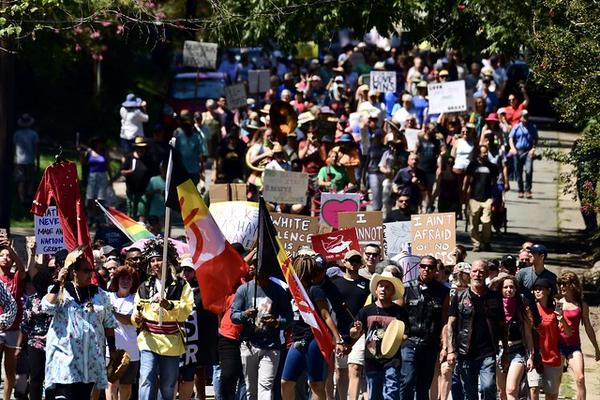 'A March Against White Supremacy' held in Hillsborough on Saturday Aug. 24 in response to a Klan presence.