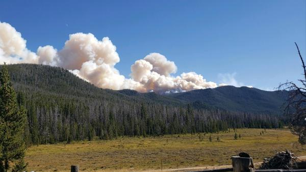 Smoke from the McClusky Fire seen from Halfway Creek Road on Sept. 4.