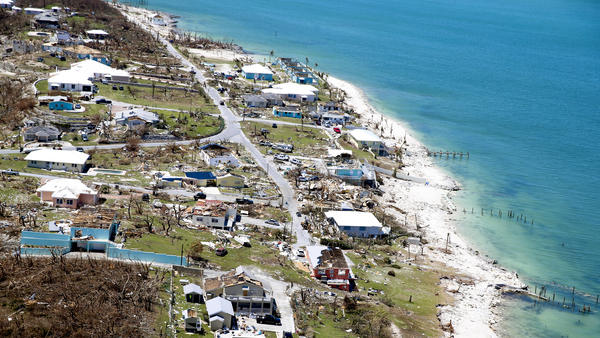An aerial view shows damage after Hurricane Dorian on Great Abaco Island, Bahamas.
