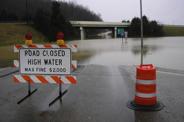 Flooding on a highway