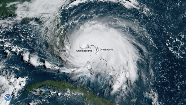 Hurricane Dorian slows to a crawl over Grand Bahama on September 2, 2019.
