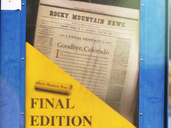 A copy of the final edition of the Rocky Mountain News sits in a newspaper box on a street corner in Denver, Colorado.John Moore/Getty Images