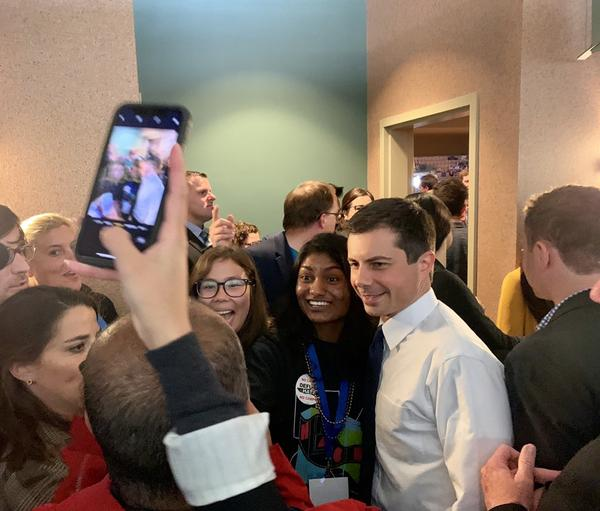 Pete Buttigieg at the SNHU Arena, site of the N.H. Democrats' state convention.