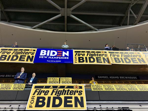 The professional firefighters union showed signs supporting its candidate, Joe Biden.